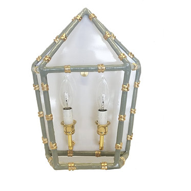 Bamboo Electric Wall Sconce Grey and Gold