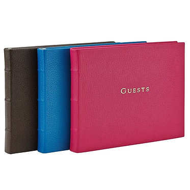Graphic Image Leather Monogrammed Guest Book