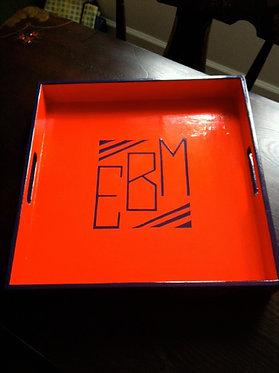 """Hand Painted Custom Monogram 16""""x16"""" Flat Edge Tray"""