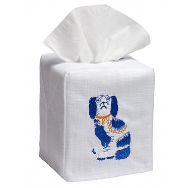 Blue and White Staffordshire Dog Linen Embroidered Tissue Box Cover