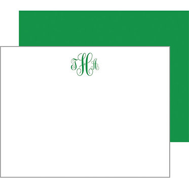 Script Monogram Green Flat Notecards