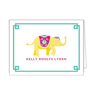 Yellow Elephant Personalized Foldover Notecards