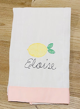 Custom Lemon with Pink Grosgrain Ribbon Embroidered Burp Cloth
