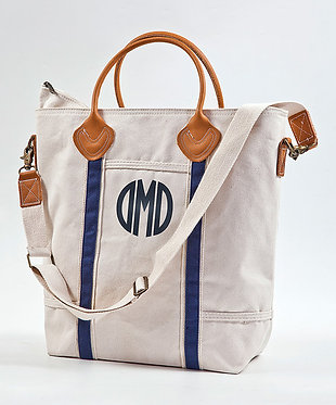 Canvas Monogrammed Vertical Travel Flight Bag