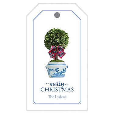 Tartan Ribbon Boxwood Topiary Gift Tags