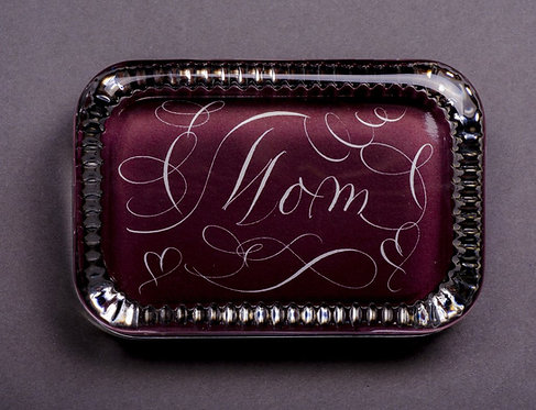 Custom Monogram Name On Maroon Glass Paperweight In Gift Box