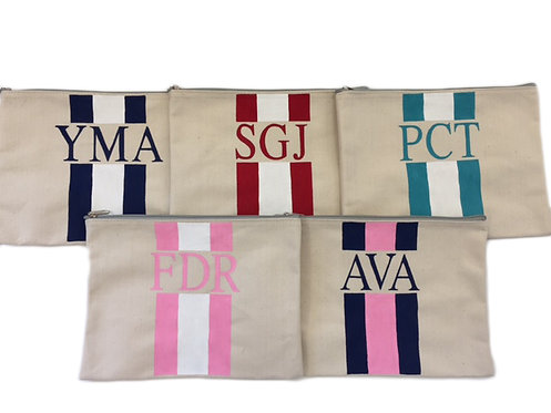 Hand Painted Striped Monogram Pouch Large