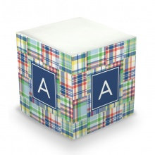 Madras Monogram/Name Sticky Memo Cube