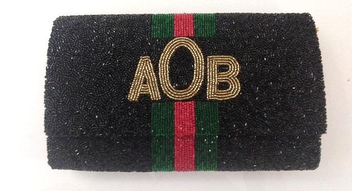 "Custom Monogram Large Bead Flap Clutch Handbag 7""x10"" With Chain Strap"