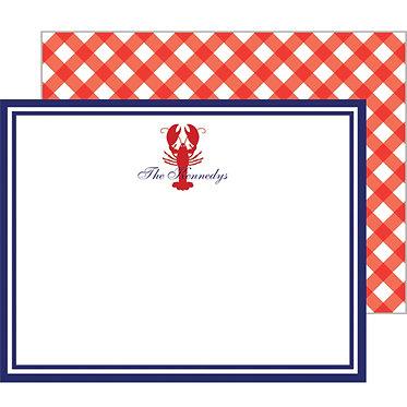 Lobster Gingham Monogram Flat Notecards