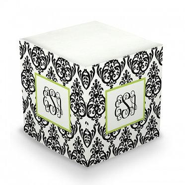 Madison Damask Monogram/Name Sticky Memo Cube