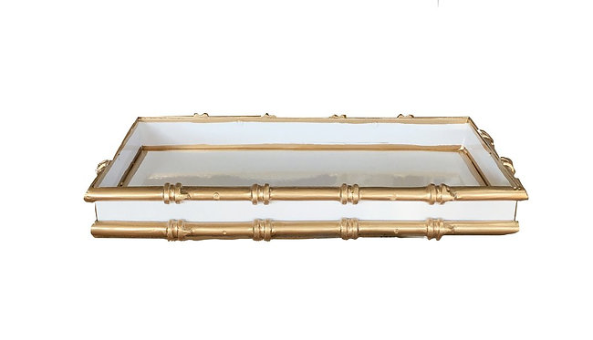 Bamboo Large Serving Tray White and Gold