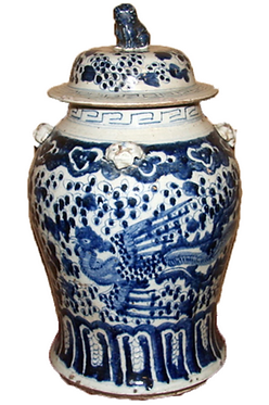 Blue & White  Porcelain Temple Jar - Phoenix Bird
