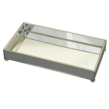 """New Mirror 6"""" x 12"""" Metal and Glass Vanity Tray"""
