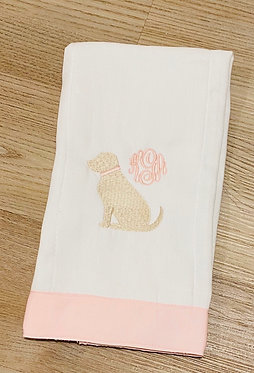 Custom Pink Grosgrain Ribbon Embroidered Burp Cloth - Personalized