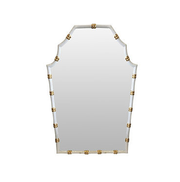 Bamboo Mirror In White and Gold