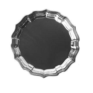 """Engraved Monogrammed 12"""" Chippendale Classic Round Tray By Salisbury"""