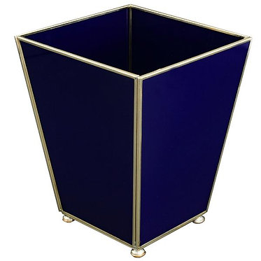 Cobalt Metal and Glass Wastebin Wastebasket