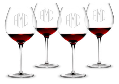 Monogrammed Red Wine Glasses 16 oz SET OF 4