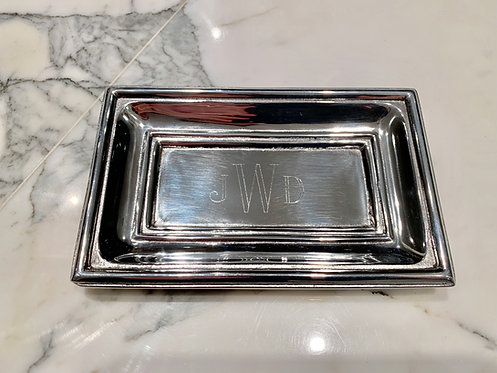 Engraved Pewter Classic Extra Small Tray With Monogram