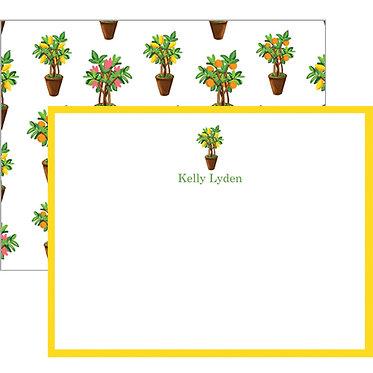 Citrus Topiary Monogram Flat Notecards