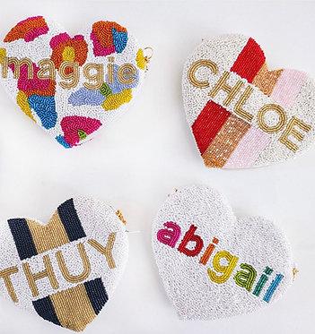 Custom Monogram Name Heart Beaded Key Coin Purse