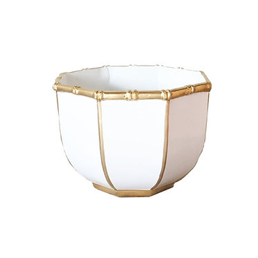 Large Bamboo Bowl In White And Gold