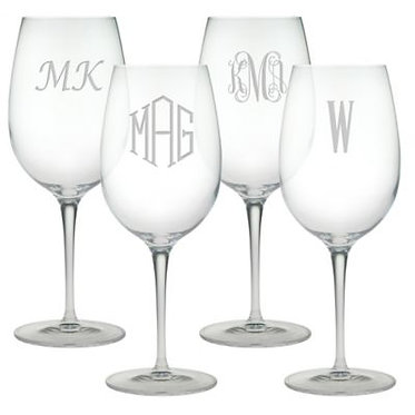 Etched Monogrammed All Purpose Wine Glass Set of 4 16oz