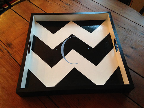 "Hand Painted Custom Monogram 20""x20"" Square Chevron Tray"