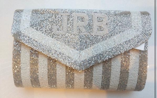 Custom Monogram Envelope Envelope Beaded Clutch Handbag With Chain Strap V Shape