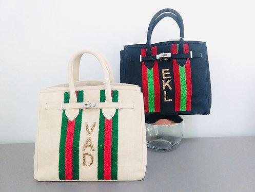 Custom Monogram Beaded Tote Handbag