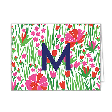 Tulips Red Pink Monogrammed Foldover Notecards