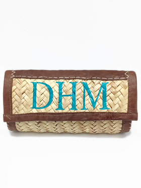 Hand Painted Monogram Straw Wallet