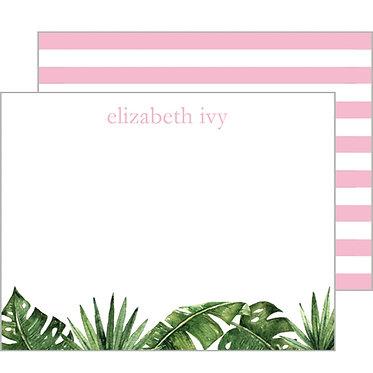Palm Leaves + Cabana Stripe Monogram Flat Notecards