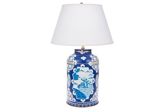 Canton in Blue Tea Caddy Lamp