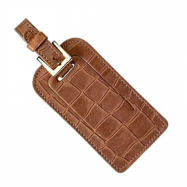 Graphic Image Croc Stamped Leather Monogrammed Luggage Tag