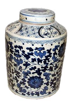 Blue & White Porcelain Large Tea Jar With Lid - Floral
