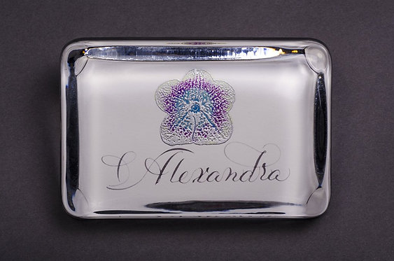 Custom Embossed Orchid Monogram Name Glass Paperweight In Gift Box