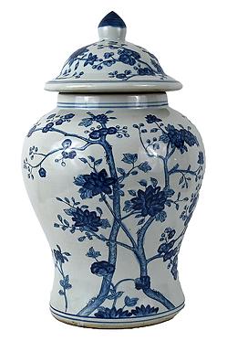 Blue & White  Porcelain Temple Jar - Branches | Flowers