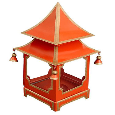 Burnt Orange/Red & Gold Candle Pagoda - Small Only
