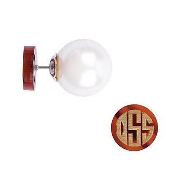 Vineyard Round 360 Pearl Post Monogram Stud Earrings