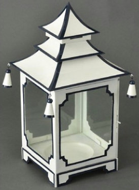 White and Navy Candle Pagoda (2 Sizes)