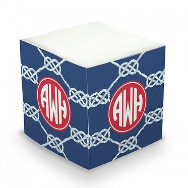 Nautical Knot Navy Monogram/Name Sticky Memo Cube