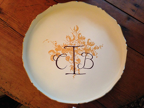 "Hand Painted Custom Monogram 18"" Scalloped Edge Tray To Match Wedding Invitation"