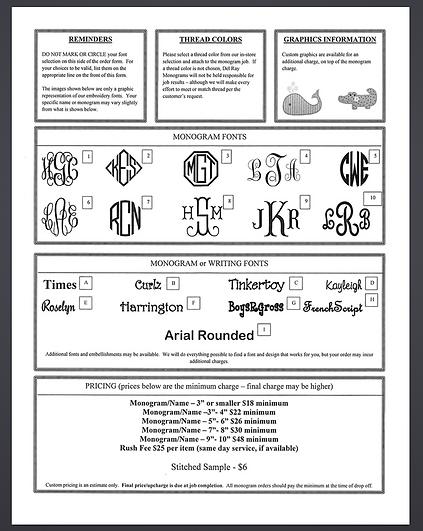 Monogram Order Form