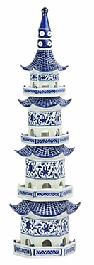 """24.5"""" Porcelain Blue and White Tower Pagoda"""