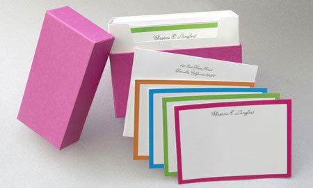 Bright Borders Note Cards In Pink Gift Box