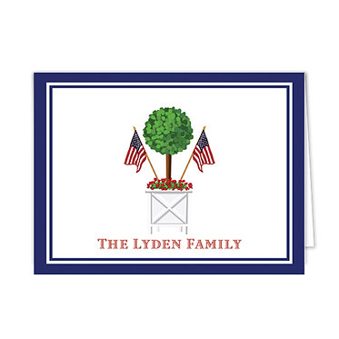 Patriotic Topiary Personalized Foldover Notecards]