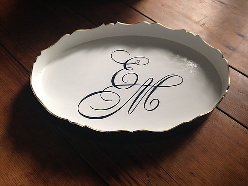 "Hand Painted Custom Monogram 16"" Oval Scalloped Edge Tray"