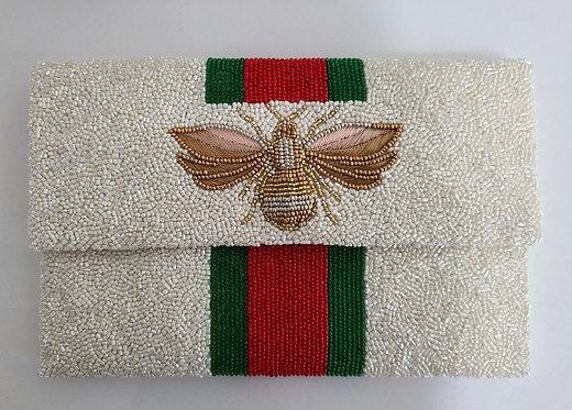 "Custom Monogram Large Bead Flap Clutch Handbag 6""x9"" BEE Stripe With Cha"